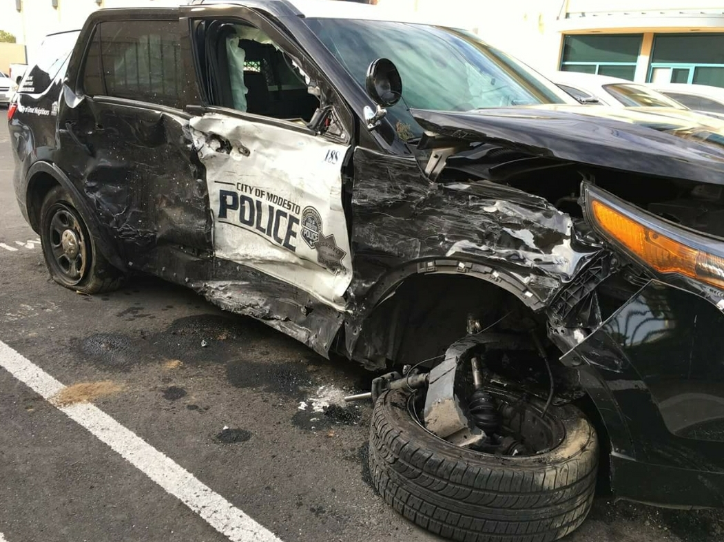 POLICE VEHICLE CRASHED AFTER CHASE, OFFICER TAKEN TO HOSPITAL