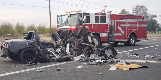 CORVETTE CRASHES WITH TRUCK IN MERCED MAJOR DAMAGE - Merced Gateway News